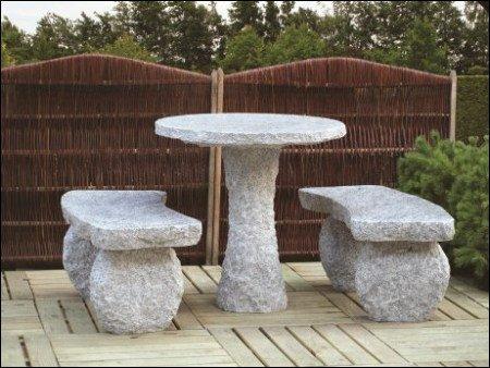 Gartenmöbel aus Granit, Bank und Tisch, Garten, Gärtnerei Weißer, Schabenhausen